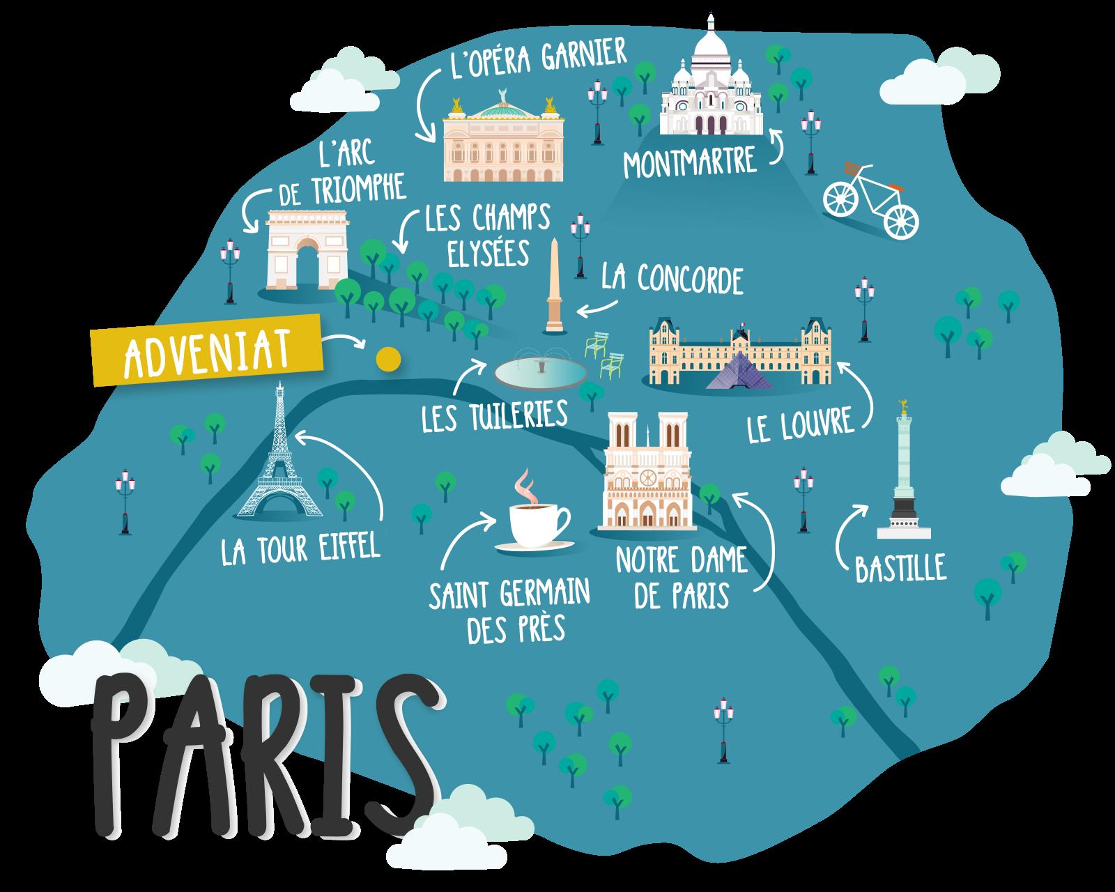 Carte de Paris - Adveniat Auberge de Jeunesse Paris Centre Champs Elysées
